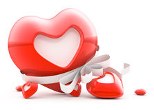 Red heart with stripe and blank white label Royalty Free Stock Images