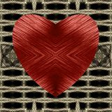 Red heart of striped on a checkered  background. Vector. Royalty Free Stock Photo