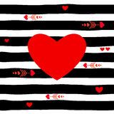 Red heart on striped pattern vector, black royalty free illustration