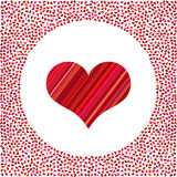 Red heart of the strips and little hearts around Royalty Free Stock Photos