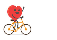 Red heart strong and happy with bike. Over  background Stock Photo