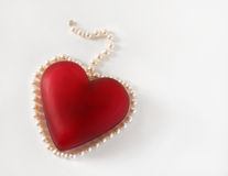Red Heart Surrounded with Pearls Royalty Free Stock Photo