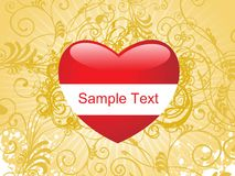 Red heart with swirl pattern artwork Royalty Free Stock Photography