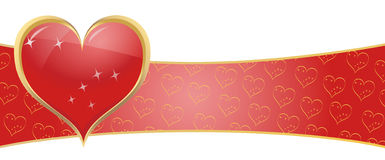Red heart symbol banner Stock Photography