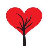 Red heart symbol crown tree Stock Image