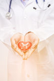 Red heart symbol in doctor hand Stock Images