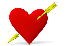 Red heart symbol with golden arrow Stock Photos