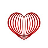 Red heart symbol love from ribbon, stock vector illustration. Eps 10 Royalty Free Stock Photos
