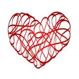 Red heart symbol love from ribbon, stock vector illustration. Eps 10 Royalty Free Stock Photo