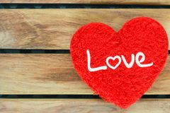 Red heart Symbol in valentine day on wood. Concept love white ,top view stock photography