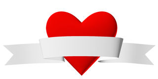 Red heart symbol with white ribbon Stock Photos
