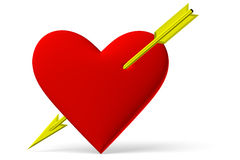 Free Red Heart Symbol With Golden Arrow Stock Photography - 48677102