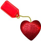 Red heart on tag Royalty Free Stock Photography