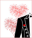 Red heart and tailcoat. Red heart wedding boutonniere on suit of groom Royalty Free Stock Photography