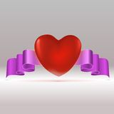 Red heart with tape. Royalty Free Stock Photography