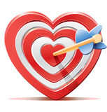 Red heart target aim with arrow Royalty Free Stock Photos