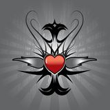 Red heart tattoo. Vector illustration of tattoo with red heart and silver flames on metallic shield Stock Images