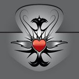 Red heart tattoo. Vector illustration of tattoo with red heart and silver flames on metallic shield Royalty Free Stock Photo