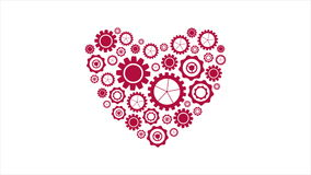 Red heart from tech gears video animation. Bright red heart from tech gears graphic motion design. Seamless loop design. St Valentines Day video animation Ultra stock video