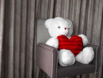 Red Heart Teddy. A cute white teddy bear with a red heart Stock Images