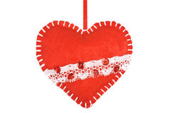 Red heart of the textiles with beads Royalty Free Stock Photos