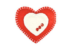 Red heart of the textiles with beads Royalty Free Stock Images