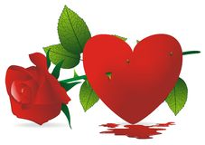 Red heart and thorns roses Stock Photos