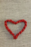 Red heart with threads Royalty Free Stock Images