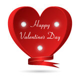 Red heart with three diamonds and an inscription Valentines Day. Suitable for design cards and invitations. Stock Photo