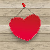 Red Heart Thumbtack Wood. Paper heart with tack on the wooden background stock illustration