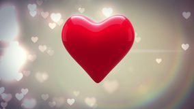 Red heart thumping on glittering background stock video