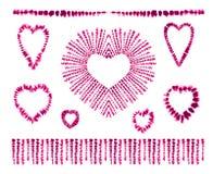 Red heart tie dye. Valentines day. Art brushes. Print in Shibori style. Ribbon ornament, ribbon, border. Royalty Free Stock Image