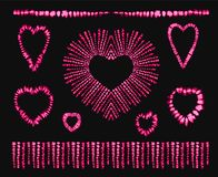 Red heart tie dye. Valentines day. Art brushes.   Royalty Free Stock Image