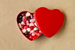 Red heart tin Stock Photography