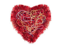 Red heart with tinsel and Mardi gras beads, symbol, isolated Stock Image