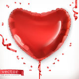 Red heart. Toy balloon vector icon. Red heart. Toy balloon 3d vector icon Royalty Free Stock Photography