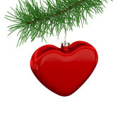 Red Heart Toy on Christmas Tree. Red heart toy hanging on the christmas tree isolated on white Stock Photography