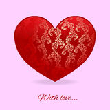 Red heart with tracery on it  on pink background Stock Photography