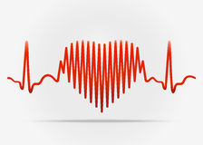 Red heart with the transition to ECG with shadow Stock Photography