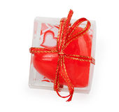Red heart in transparent box Royalty Free Stock Photography