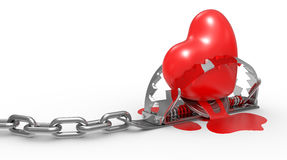 Red heart in the trap Stock Images