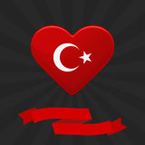 Red heart with turkish flag, white star and crescent. Greeting card with ribbon. Flyer, poster for National Day Turkey Royalty Free Stock Image