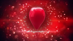 Red heart turning and exploding on glittering background stock video