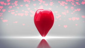 Red heart turning and exploding on grey background stock video