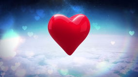 Red heart turning over blue sky. Digital animation of red heart turning over blue sky stock video footage