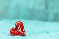 Red heart on a turquoise background St. Valentine`s Day Royalty Free Stock Photography