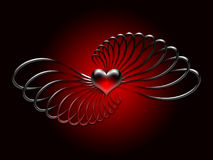 Red Heart and Twists. Red beveled heart with metallic twists on a black background royalty free illustration