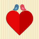 Red heart and two birds. Big red paper heart and two birds kissing over Royalty Free Stock Photography