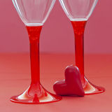 Red heart and two glasses Stock Photography