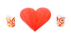 Red heart and two mugs royalty free stock photo